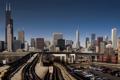 Картинка машины, город, небоскребы, Чикаго, парковка, ж/д дорога