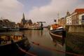 Картинка небо, река, корабль, дома, канал, Нидерланды, Масслёйс