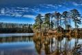Картинка небо, деревья, озеро, дом