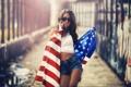 Картинка девушка, фото, модель, брюнетка, американский флаг, Karen Abramyan, шоры