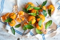 Картинка листики, салфетка, солнечные мандарины