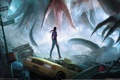 Картинка девушка, машины, монстр, меч, щупальца, The Secret World