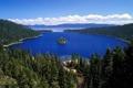 Картинка лес, Калифорния, пейзаж, природа, остров, озеро, Озеро Тахо