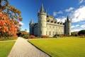 Картинка осень, трава, парк, замок, камень, сад, лужайка