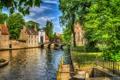 Картинка зелень, деревья, мост, дома, обработка, канал, Бельгия