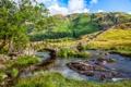 Картинка горы, мост, река, Англия, Little Langdale Valley