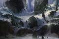 Картинка снег, горы, скалы, доспехи, арт, поход, копья