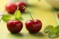 Картинка мята, красные, вишни, ягоды, макро, пара