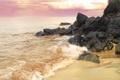 Картинка песок, море, волны, пляж, небо, природа, камни