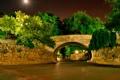 Картинка деревья, ночь, мост, парк
