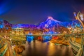 Картинка техно, Токио, парк развлечений, ночь, Tokyo DisneySea, Ураясу, огни
