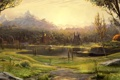 Картинка поле, пейзаж, дома, храм, речка, Арт