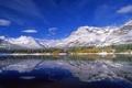 Картинка лес, снег, горы, озеро, Канада