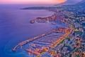 Картинка закат, огни, океан, Франция, дома, вечер, порт