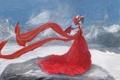 Картинка зима, девушка, снег, горы, замок, крылья, платье