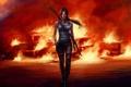 Картинка девушка, пожар, Tomb Raider, Лара Крофт