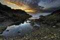 Картинка море, камни, рассвет, залив