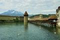 Картинка небо, горы, река, дома, Швейцария, галерея, лебеди