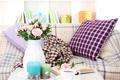 Картинка цветы, чай, розы, свечи, книга, ваза