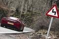 Картинка дорога, лес, красный, знак, McLaren, суперкар, вид сзади