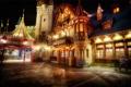 Картинка скамейка, огни, дом, улица, башня, сша, мостовая