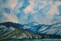 Картинка небо, пейзаж, горы, синий, Рисунок, хребты