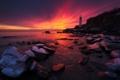 Картинка rock, ocean, coast, sunset, lighthouse