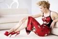 Картинка актриса, шпильки, красное платье, Rachel McAdams, actress, Рэйчел МакАдамс