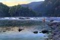 Картинка деревья, горы, природа, рыбак, живопись, горная река, Al Agnew