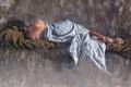 Картинка девушка, волосы, спина, лежит, одеяло, живопись, Laurent Botella
