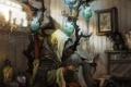 Картинка кошка, комната, кресло, свечи, арт, банки, ведьма