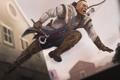 Картинка оружие, прыжок, арт, мужчина, раскраска, Assassins Creed 3, Connor