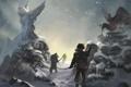 Картинка зима, снег, люди, арт, гарпия