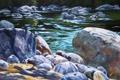 Картинка вода, блики, река, ручей, камни, картина, арт