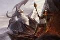 Картинка колдун, рога, гигант, посох, лава, скалы, маг