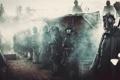 Картинка оружие, дым, солдаты, строй, немцы, противогазы, Первая мировая война