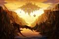 Картинка закат, город, река, скалы, дракон, арт, каньон