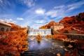 Картинка осень, природа, водопад, дамба