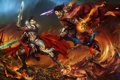 Картинка оружие, огонь, магия, череп, меч, лава, битва