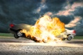 Картинка машины, взрыв, столкновение