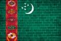 Картинка стена, звёзды, флаг, кирпичи, Текстура, Туркменистан