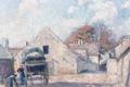 Картинка городской пейзаж, улица, Монтеврен, люди, дома, Анри Лебаск, картина