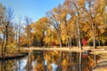 Картинка осень, небо, деревья, пруд, парк, камень, скамья