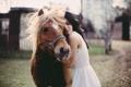 Картинка девушка, животное, лошадь, платье, пони