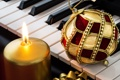 Картинка Рождество, music, Christmas, New Year, piano, украшения, праздник