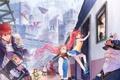 Картинка город, люди, метро, поезд, драконы, станция, арт
