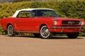 Картинка красный, конь, Mustang, классика, 1964, Convertible, мягкий верх