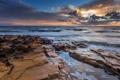 Картинка природа, пейзаж, скалы, рассвет, океан