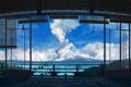 Картинка море, небо, облака, дом, растение, аниме, арт