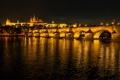 Картинка ночь, мост, огни, река, Прага, Чехия, Влтава